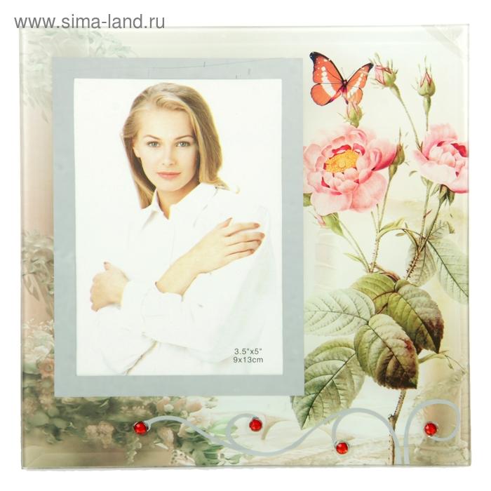 """Фоторамка """"Садовые цветы"""" зеркальная, со стразами, 9х13 см"""