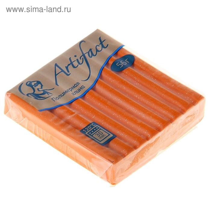 Пластика - полимерная глина 56г с блестками Оранжевый