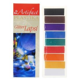 Пластика - полимерная глина набор LAPSI GLITTER 9 классических цветов с блестками 180г