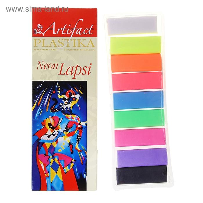 Пластика - полимерная глина набор LAPSI NEON 9 флуоресцентных цветов 180г