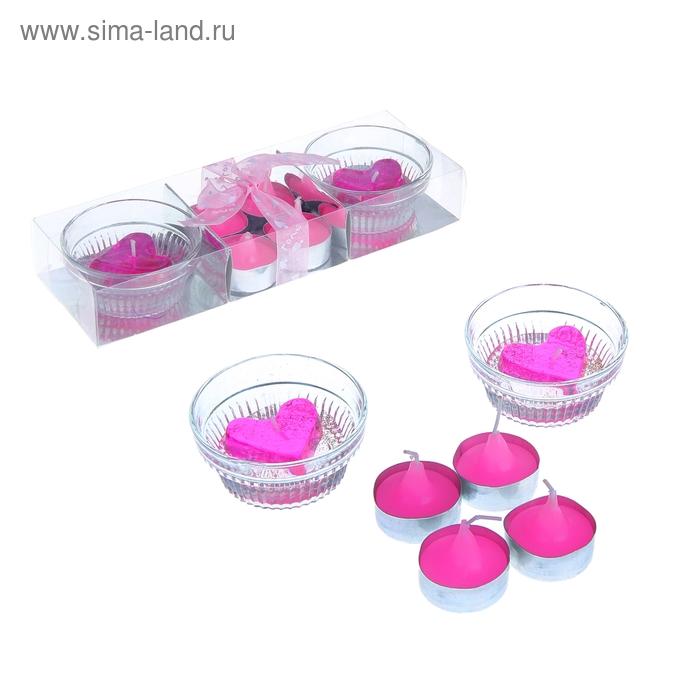 """Свечи восковые (гелевые 2 шт + восковые 4 шт) """"Нежность"""", цвет розовый"""