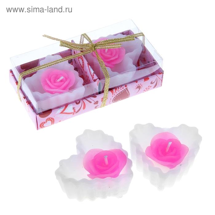 """Свечи восковые (набор 2 шт) """"Роза в сердце"""", цвет белый"""