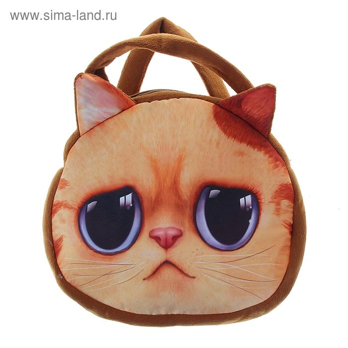 """Мягкая сумочка """"Киса"""" рыжая с печальными глазами"""
