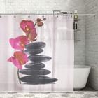 """Штора для ванной 180х180 см """"Камни и орхидея"""", полиэстер"""