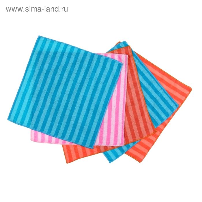 """Набор салфеток для уборки """"Полоски"""", 5 шт, 30х30 см, цвет МИКС"""
