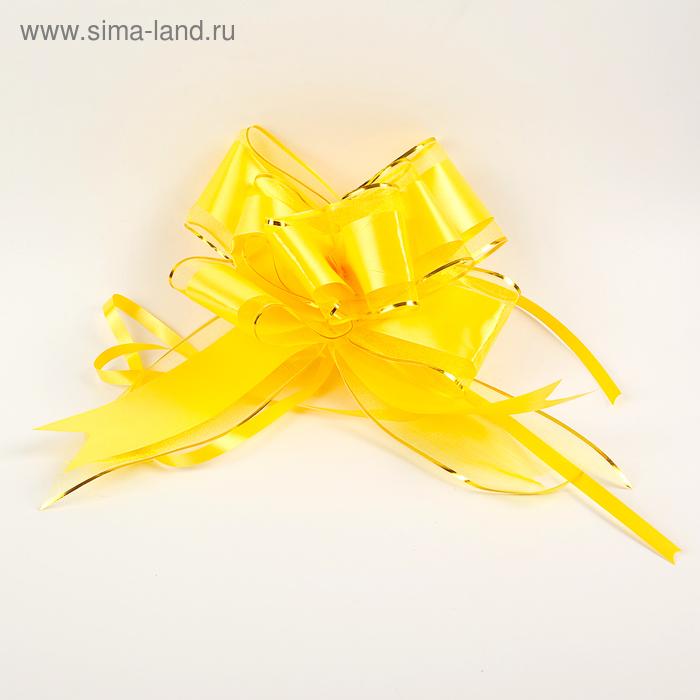 """Бант-бабочка №7 """"Золотая полоса"""", цвет жёлтый"""