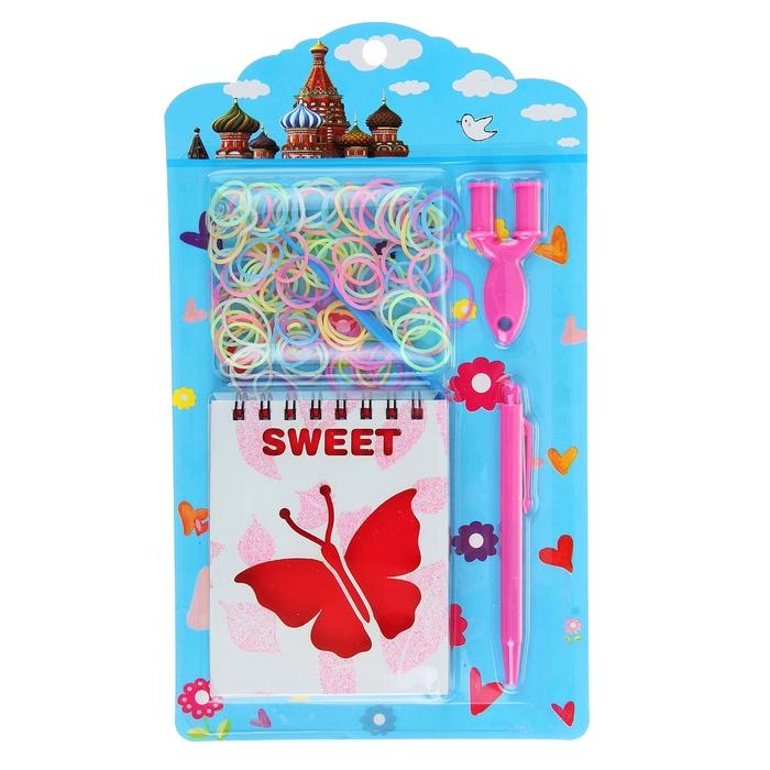 Блокнот А6 30л лин на гребне с ручкой на блистере + резинки с палочками для плетения