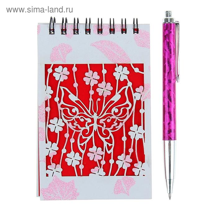 Блокнот А6 30л лин на гребне с ручкой в пластиковой коробочке МИКС Цветы на красном