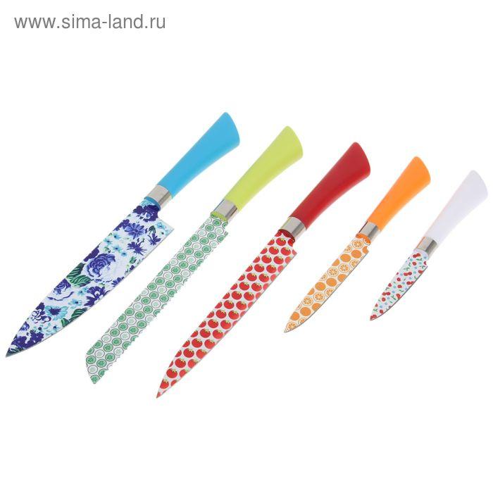 """Набор кухонный """"Ягоды"""", 6 предметов: 5 ножей, доска"""