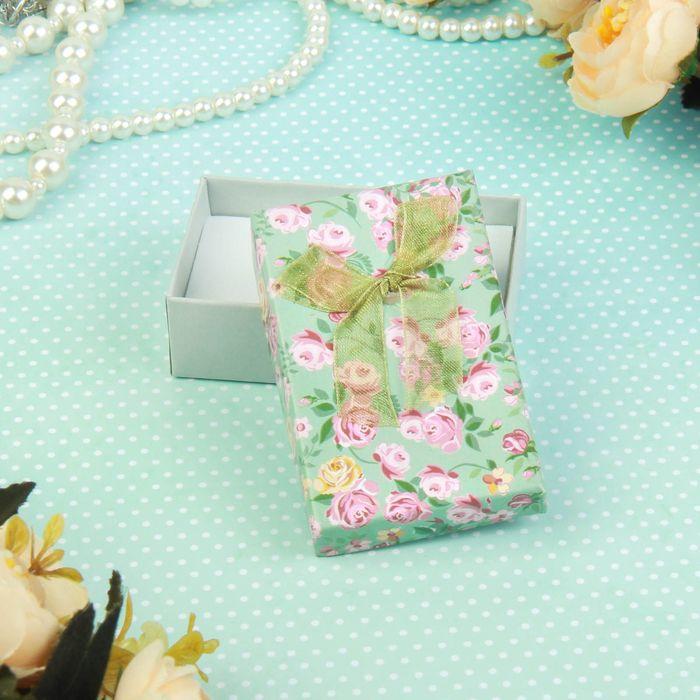 """Коробочка подарочная под набор """"Розочки"""", 8*5,цвет голубой, вставка белая"""