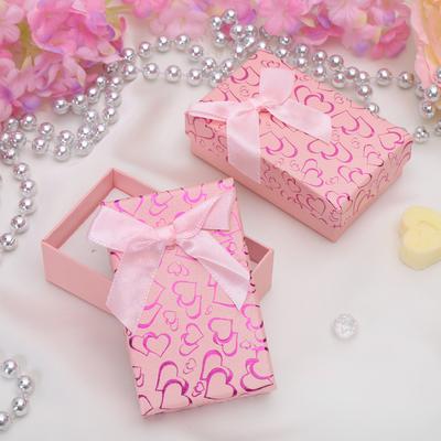 """Коробочка подарочная под набор """"Блестящие сердца"""", 8*5*2,5, цвет розовый, вставка белая"""