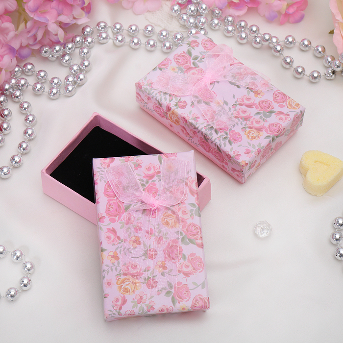 """Коробочка подарочная под набор """"Розочки"""", 8*5*2,5, цвет розовый, вставка черная"""