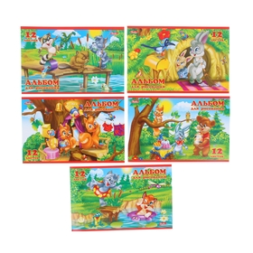 Альбом для рисования А5, 12 листов на скрепке «Для малышей», обложка картон 185 г/м2, блок офсет 100 г/м2, 5 видов МИКС