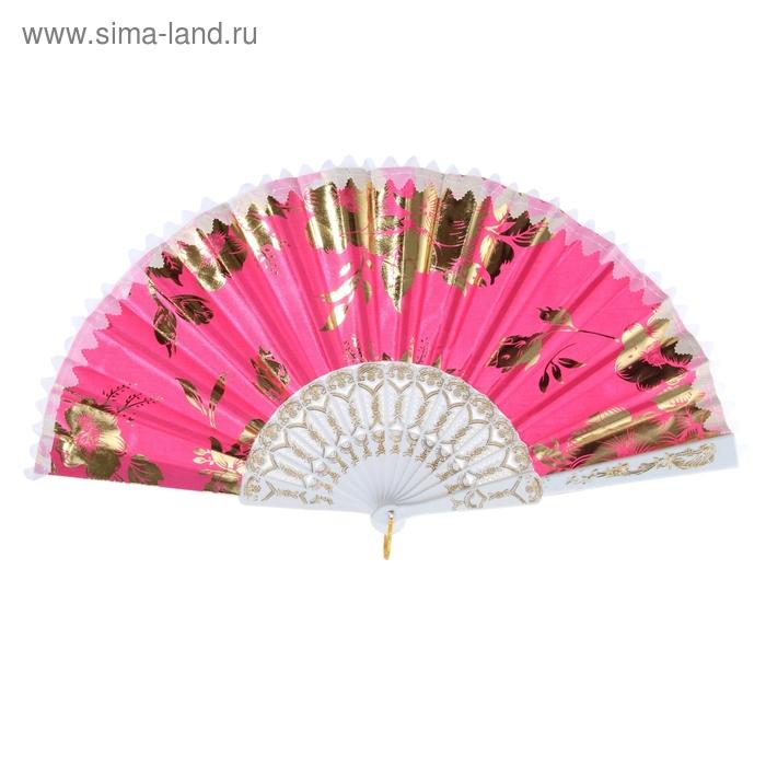 """Веер """"Цветы золотые"""", цвет розовый"""