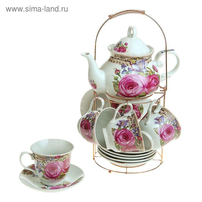 """Сервиз чайный на стенде """"Чаепитие"""", 13 предметов: чайник 1 л, шесть чашек 200 мл, шесть блюдец"""