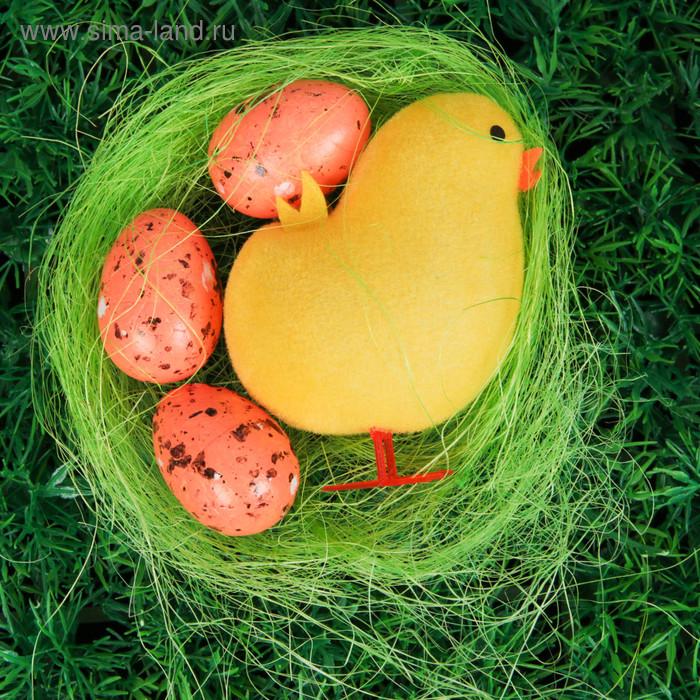 """Сувенир """"Цыплёнок на травке и три яйца"""", цвета МИКС"""