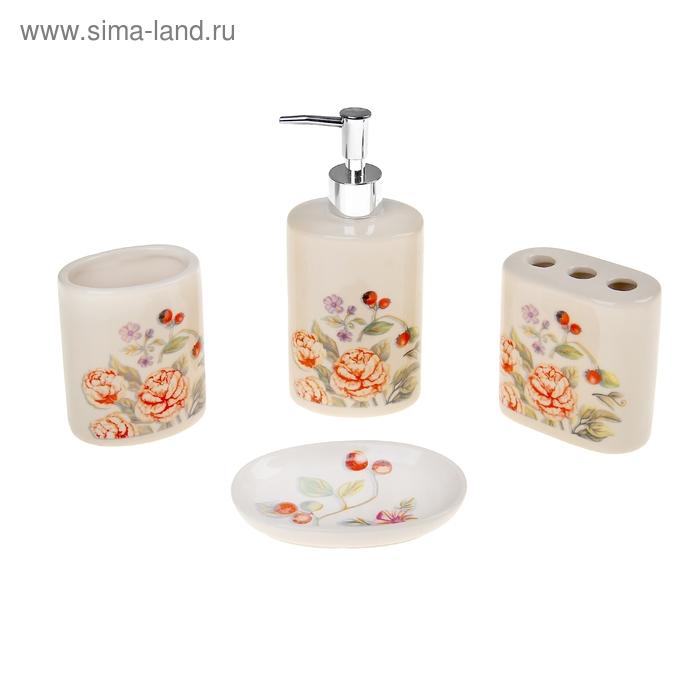 """Набор для ванной 4 предмета (Дозатор, мыльница, 2 стакана), """"Розочки"""""""