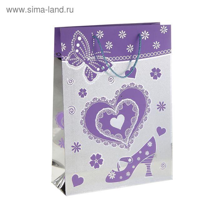 """Пакет голографический """"Сердце и туфелька"""", цвет фиолетовый"""