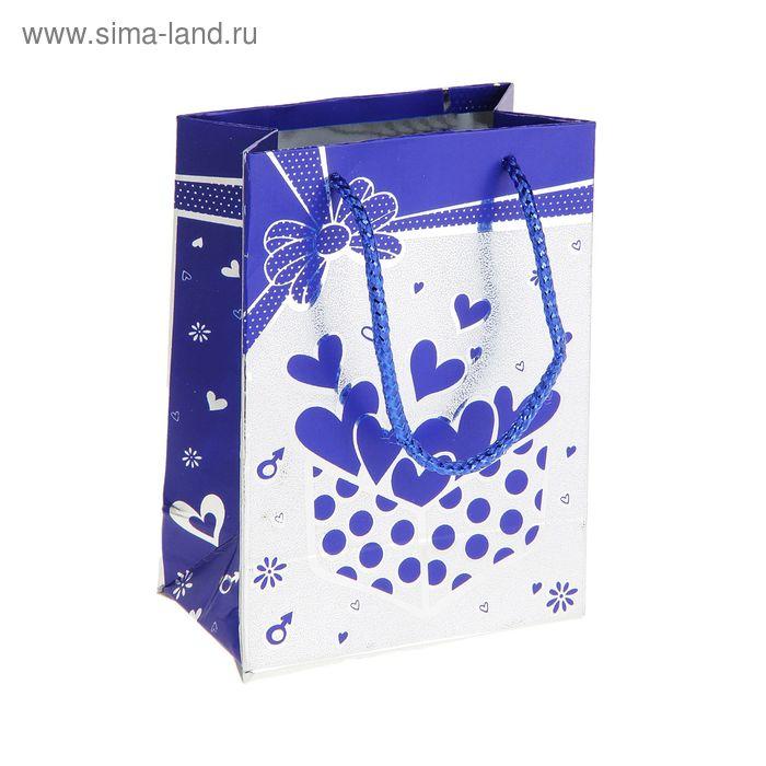 """Пакет голографический """"Сердечки в коробке"""", цвет синий"""
