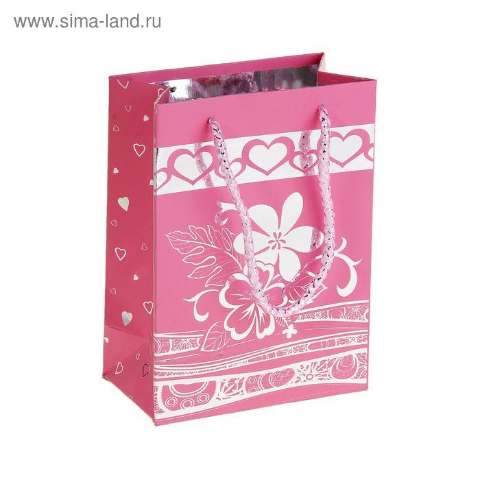 """Пакет голографический """"Цветок"""", цвет розовый"""