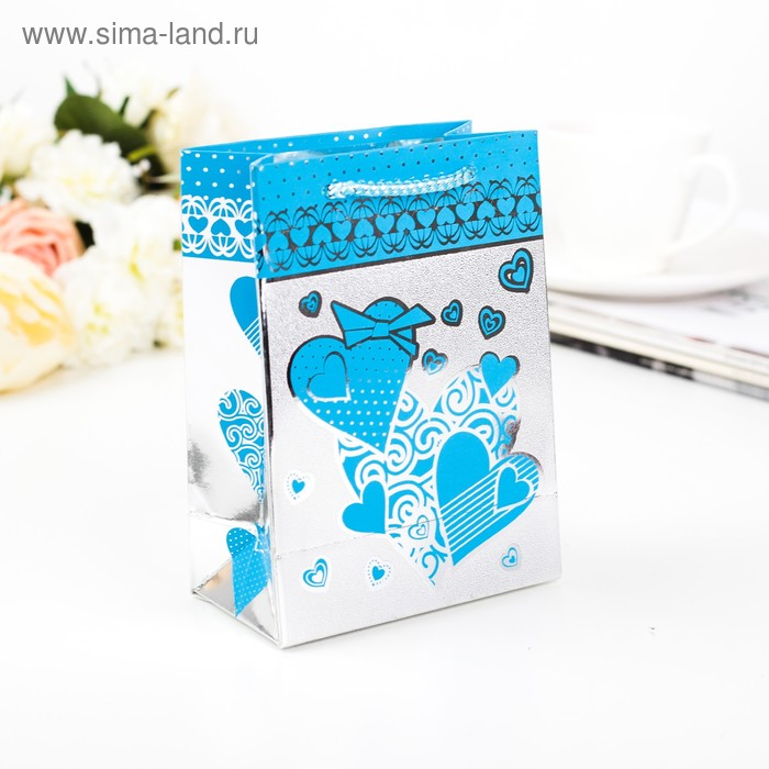 "Пакет голографический ""Сердца"", голубой, 11 х 6,5 х 15 см"