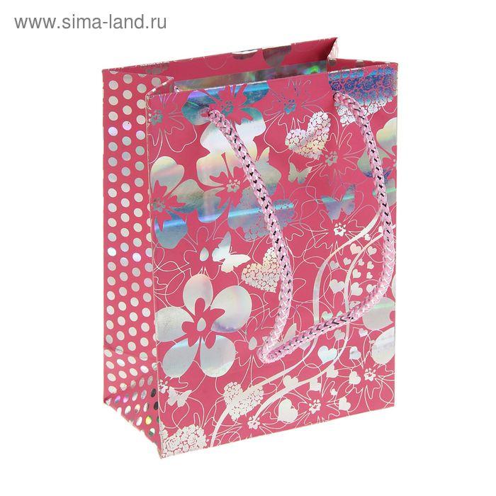 """Пакет голографический """"Сад цветов"""", цвет розовый"""