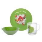 "Набор посуды ""Angry Birds. Зелёный"", 3 предмета: кружка 250 мл, тарелка 19,5 см, салатник 14 см"