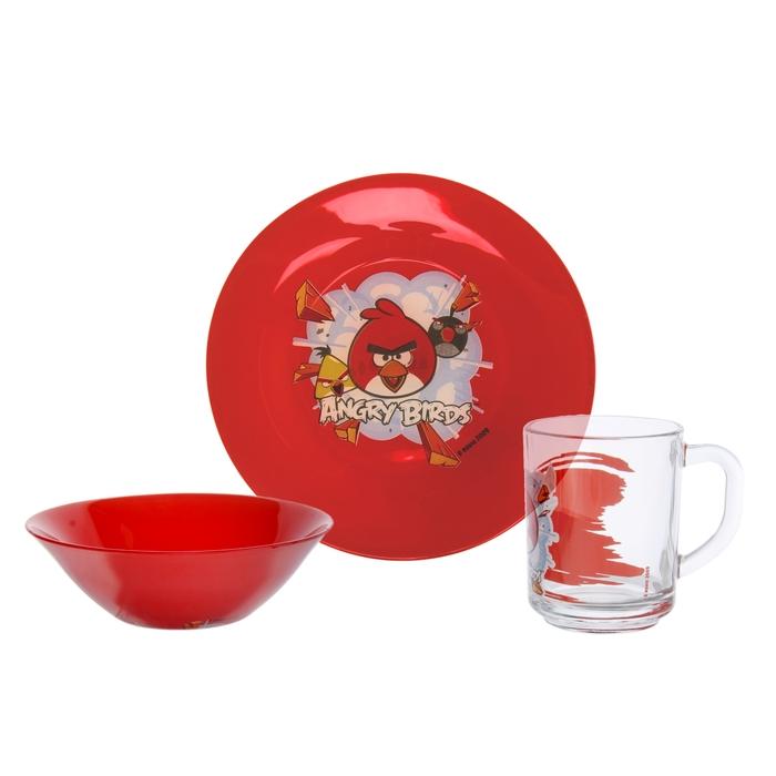 """Набор """"Angry Birds - Красный"""" 3 предмета: кружка 250 мл, тарелка 19,5 см, салатник 14 см"""