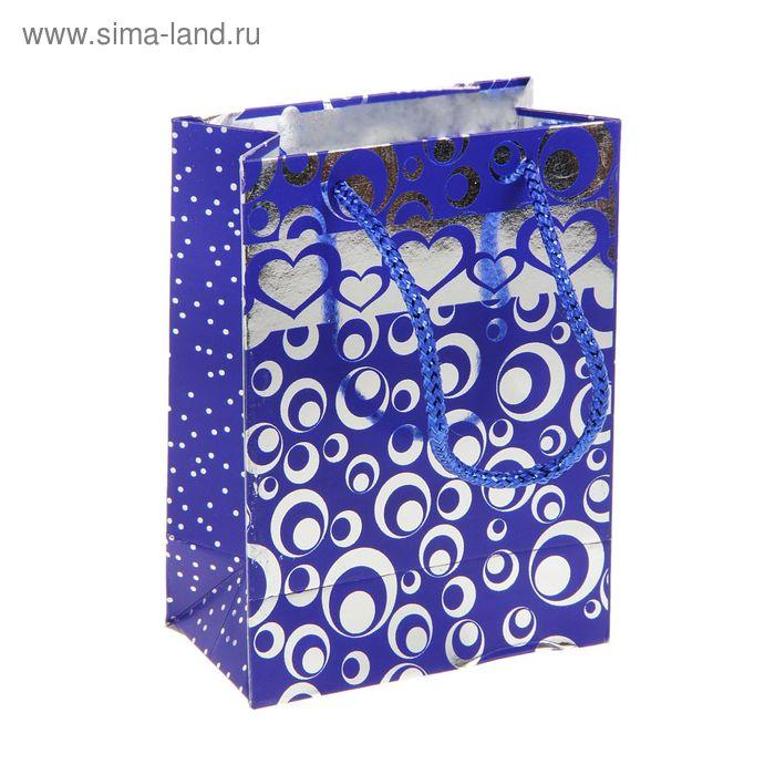 """Пакет голографический """"Кружки и сердца"""", цвет синий"""