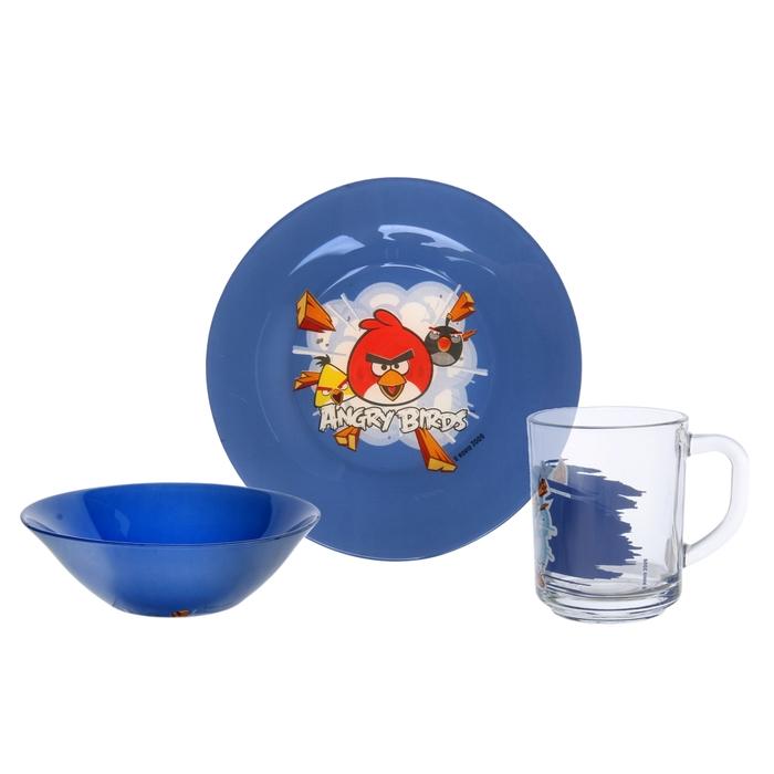 "Набор посуды ""Angry Birds. Синий"", 3 предмета: кружка 250 мл, тарелка 19,5 см, салатник 14 см"