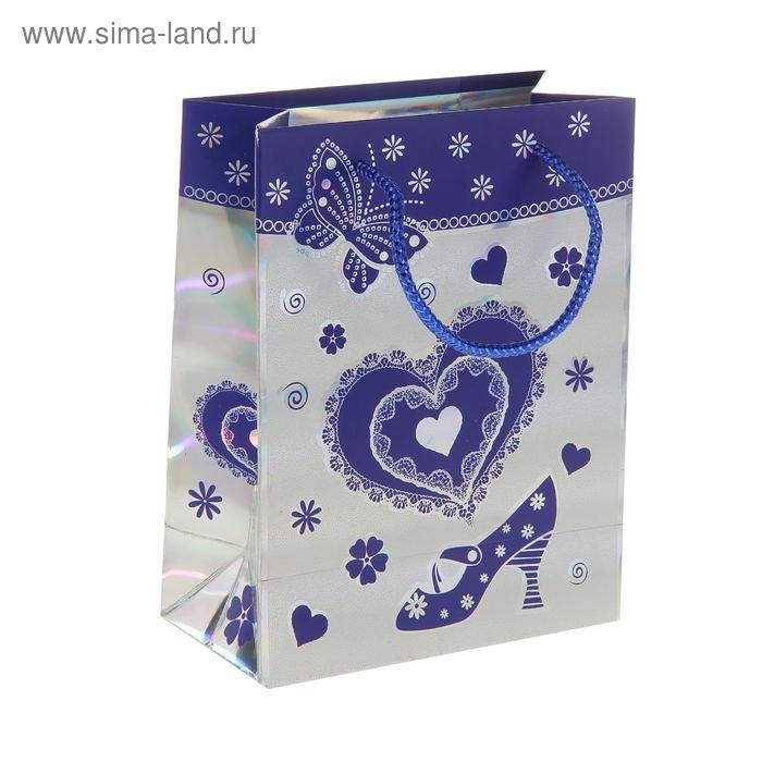 """Пакет голографический """"Сердце и туфелька"""", цвет синий"""