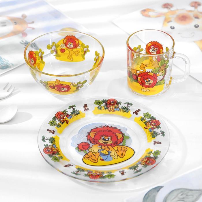 """Набор посуды """"Львенок"""", 3 предмета: кружка 200 мл, салатник 300 мл, тарелка d=20 см"""