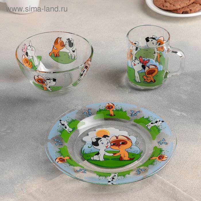 """Набор посуды """"Котенок по имени Гав"""", 3 предмета: кружка 200 мл, салатник 300 мл, тарелка d=20 см"""