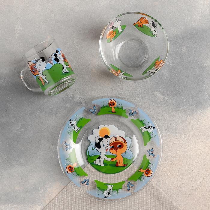 """Набор посуды """"Котенок по имени Гав"""", 3 предмета: кружка 200 мл, салатник 300 мл, тарелка 20 см - фото 149703004"""