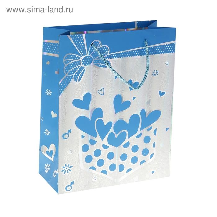 """Пакет голографический """"Сердечки в коробке"""", цвет голубой"""
