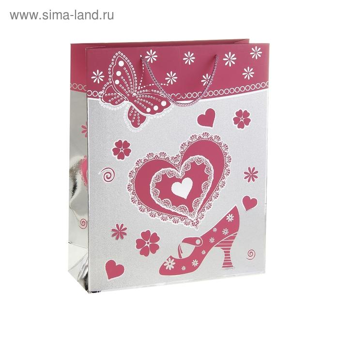 """Пакет голографический """"Сердце и туфелька"""", цвет розовый"""