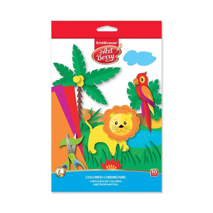 Картон цветной B5, 10 листов, 10 цветов Erich Krause Artberry, мелованный