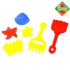 """Песочный набор """"Морские жители"""" 6 предметов: 4 формочки, грабли, лопатка, цвета МИКС"""