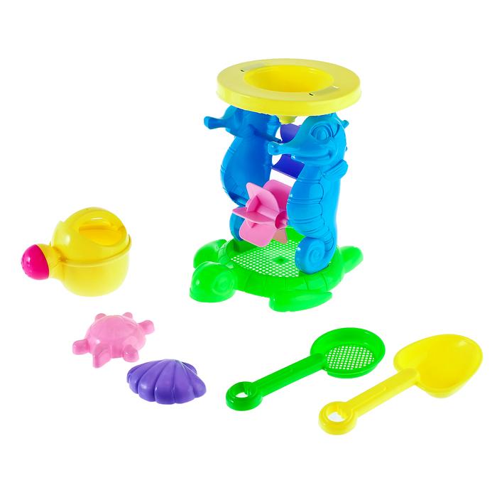 """Песочный набор """"Морское приключение"""" 6 предметов: мельница, лейка, 2 формочки, сито, лопатка"""