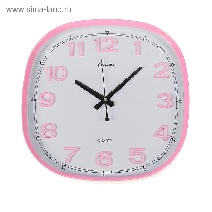 """Часы настенные """"Для неё"""", квадратные с закруглёнными углами, 39 × 39 см, розовые, циферблат белый"""