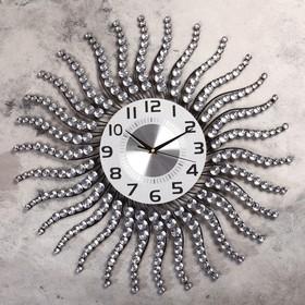 """Часы настенные, серия: Ажур, """"Солнце с изогнутыми лучиками"""", стразы, d=59 см"""