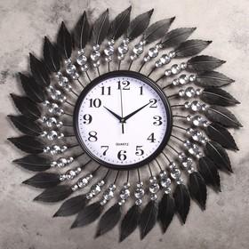 """Часы настенные, серия: Ажур, """"Спираль с кристаллами"""", белые, d=59 см"""