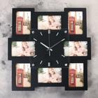 """Часы настенные """"Неправильный квадрат"""", чёрные + 8 фоторамок 7 × 11 см"""