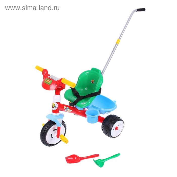 """Велосипед трехколесный """"Беби Трайк"""" с ручкой, звуковым сигналом и ремешком + набор: 2 элемента"""