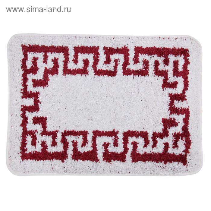 """Коврик для ванной """"Меандр"""", 50х80 см, красно-белый"""