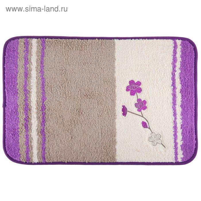 """Коврик для ванной """"Вишнёвая веточка"""" 40х60 см, фиолетовый"""