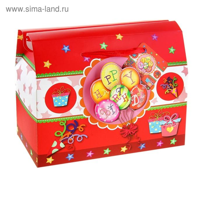 """Коробка-сундучок """"С Днём рождения"""", цвет красный"""
