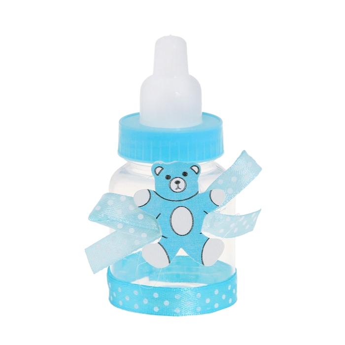 """Бонбоньерка """"Бутылочка с мишкой и бантиком"""", цвет голубой"""