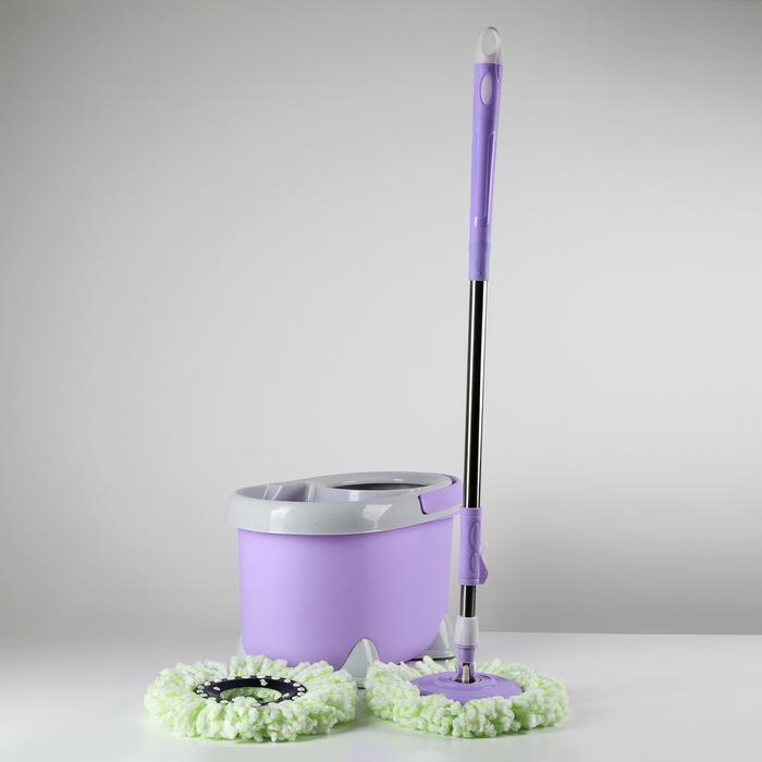 Набор для уборки: швабра, ведро с металлической центрифугой (общий объем 20 л, полезный объем - 10 л), дополнительная насадка