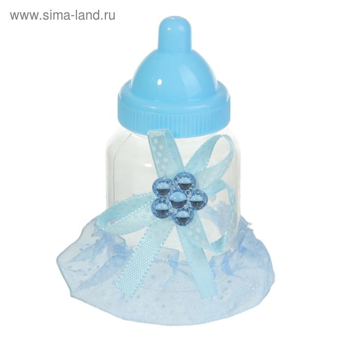 """Бонбоньерка """"Бутылочка с бантиком"""", цвет голубой"""